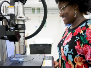 SEAHA MRes student, Nanette Kissi, working with the 3D microscope