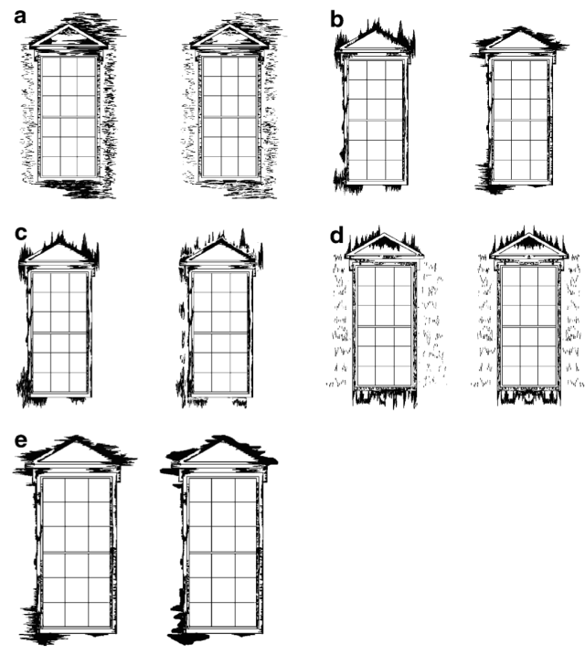 Examples of pairs of images for the second desk-top exercise: (a) amount; (b) orientation; (c) separation; (d) symmetry; (e) featheriness/lumpiness. Reprinted (adapted) with permission from Brimblecombe & Grossi (2004). Aesthetics of Simulated Soiling Patterns on Architecture. Environmental Science & Technology. 38, 3971–3976. Copyright (2004) American Chemical Society.
