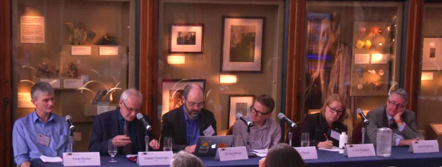 Panel discussion from the Managing Cultural Heritage in a Climate Change(d) Future. (Screenshot from webcast http://consortia.si.edu/events/archived/symposia)