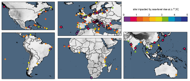 Location of UNESCO cultural world heritage sites affected by sea-level rise (SLR)