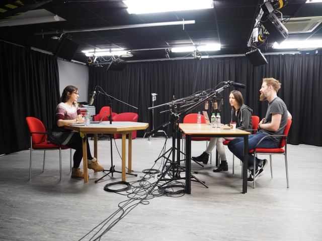 Caption: Left to right, presenter Hayley Simon with guests Cerys Jones and Chris Naunton recording episode 1 of the Heritage Science Podcast.