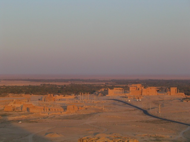 The ancient ruins of Palmyra in the sunset.