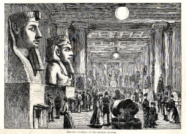 """Print from a periodical featuring a view of the Egyptian sculpture gallery with new artificial lighting, entitled """"Electric lighting of the British Museum"""" ( 1890). 'The Illustrated London News' p. 164. Courtesy of the British Museum."""
