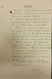 Minutes of the Commission to consider the subject of lighting picture galleries by gas, signed by Michael Faraday. Courtesy of Victoria and Albert Museum, London.