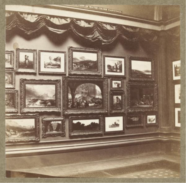 Photograph of the Ellison Gallery of watercolors, (1868). The South Kensington Museum installed curtains in 1864 that were let down when the museum was closed to the public. Courtesy of the Victoria and Albert Museum, London